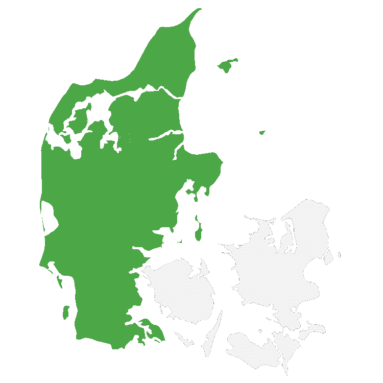 danmark - kort opdeling øst vest