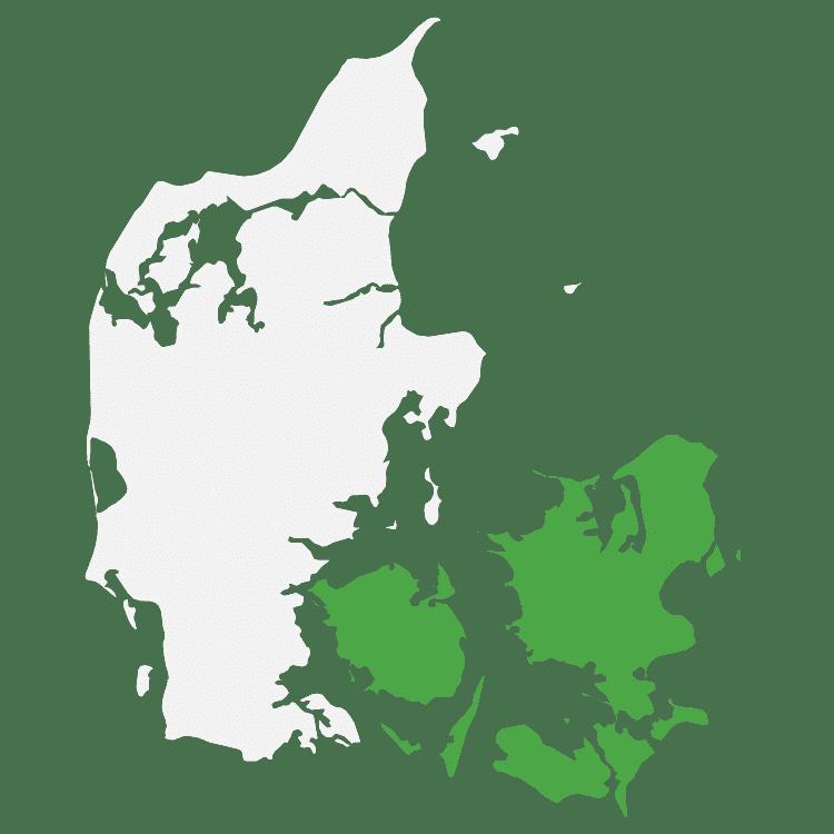 danmark - kort øst vest opdeling